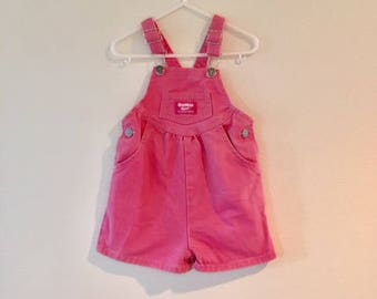 Vintage Baby Girl Pink Jean Overalls Romper / OSHKOSH B Gosh Cotton Toddler Shorts Outfit Size 2T 24 Months