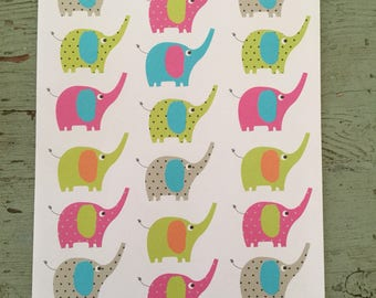 Elephant Gift Wrapping Paper.  Colorful Elephants Folded Wrapping Paper. Gift Wrap. Elephant Wrapping Paper. Birthday Wrapping Paper 68X50c