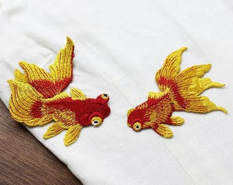 Gold Fish Patches Sew On Fish Patches Patch Sew On Patch Embroidered Patches,Orange Koi Fish,Tattoo Appliqué,Embroidery DIY Denim Jacket