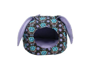 Guinea Pig bed, Ferret bed, Rat bed, Hedgehog bed, Small Animal House - Floral Print & Lavender Bunny Ear Cuddle Cave -  Cage Accessories