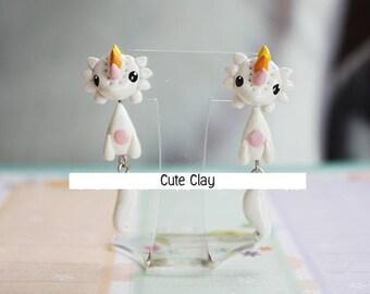 SALE!!!Cat Handmade Polymer Clay Earring Ear Stud