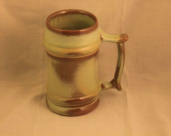 Vintage Frankoma Pottery Mug Large Tall Green and Brown Coffee Beer Gift