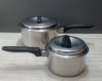 Ekco FLINT Ware 2 Quart or Smaller both with Original Lids. YOUR CHOICE Stovetop Pot and Lid. Flintware Stainless Steel. Cookware.