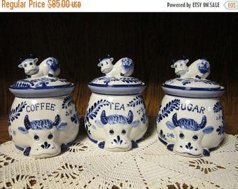 Delft Deco Cow Canisters Vintage 1970's White Blue Coffee Sugar Tea Ceramic Storage Containers Kitchen Counter Decor Collectible Set-Kit0652