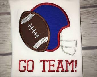Custom applique football shirt!!! Choose colors, fabrics, font! Long sleeve or short sleeve! Helmet and football with name