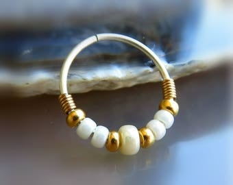 dainty nose ring // beaded nose hoop // nose ring 20g - gold nose piercing