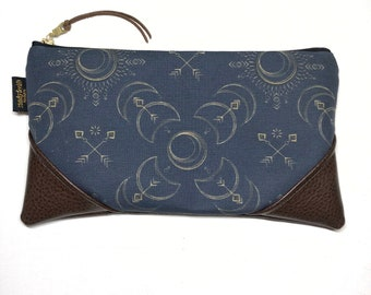Large Boho Solar Eclipse x Brown Zipper Pouch / Clutch in Turquoise with inside lining and Zipper Pull or Leather Wristlet Strap