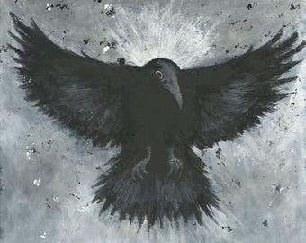 Original painting CROW in flight