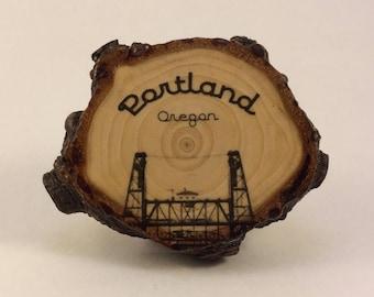 Portland Steel Bridge - Crosscut Wooden Magnet