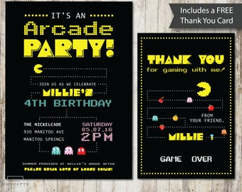 DIGITAL Arcade Birthday Party Invitation |  Pacman Birthday Party | Video Game Invitation | Boy's Girl's Game Party Invitation