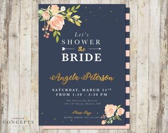Blush Navy Gold Bridal Shower Invitation | Shower the Bride | Floral Bridal Shower | Digital Printable