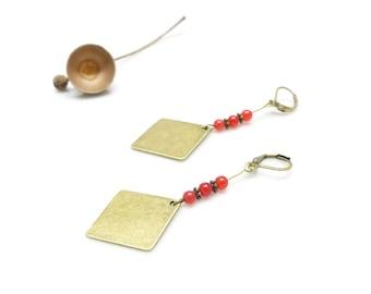 Boho earrings ~'. ' ~ Raiani ~'. ' ~ Stud Earrings, diamond and red beads.