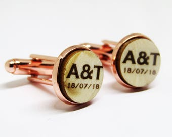 Rose Gold Wedding Cufflinks Personalised Initials and Date Engraved Wood Groom Groomsman Usher Father Of The Bride Gift Cufflinks In Box