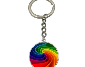 Rainbow Swirl Glass Charm Key Chain