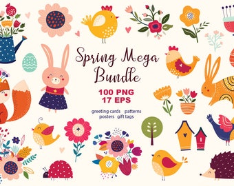 Digital EASTER CLIPARTS collection. Digital files 100 PNG files, 17 eps files