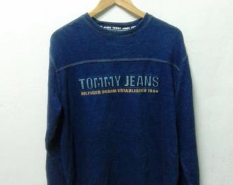 Vintage Tommy Hilfiger Jeans Spell Out T Shirt Long Sleeve