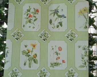 Vintage Wallpaper Vintage 1990's Garden Plants Vintage Wallpaper Garden Floral Motif Green Pin Stripes