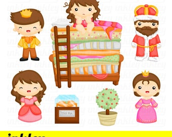 50%OFF!! Princess and the pea Cute Clipart, Story Clipart, Fun Clipart, Clipart Set, Adorable Digital Clip Art