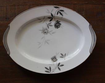 Vintage Rosamor Noritake Oval Serving Platter Tray Grey Roses Platinum c1957-75