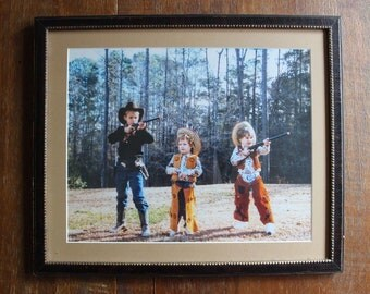 Vintage Framed Photograph Three Young Children in Cowboy Costumes with Pistols