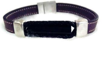 "Mens bracelet two tone leather and natural stone ""tourmaline""father's day"""