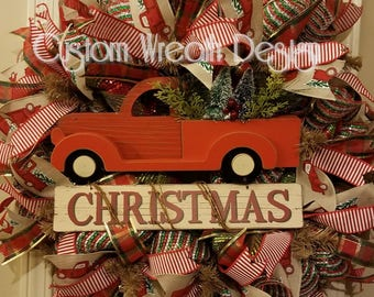 Christmas Truck Wreath. Vintage truck wreath, red truck wreath.