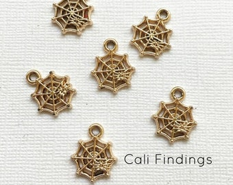 SALE 50% OFF 3pc- Gold Tone Spider Charm, Gold Spider Web Charm, Spider Charm, Gold Charm, Spider Web, Spider Pendant, Halloween Charm,