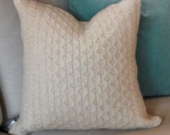 100%  Off White Sheltland Wool Cable Knit Pillow