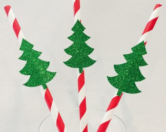 12 Christmas Tree Straws - Striped Straws - Christmas Party - Glitter - Swizzle Sticks - Green - Red - Holiday Party