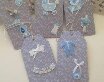 Set of 5 large tags tags baby blue color
