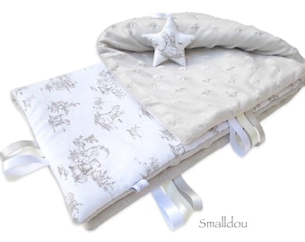 Baby blanket white and gray canvas of jouy