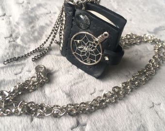 OOAK Dreamcatcher book pendant