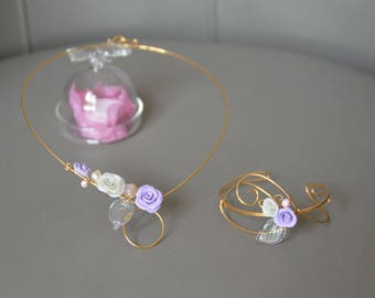 Pink Purple golden thread, wedding ornament white porcelain, wedding, bridal adornment, gold wire jewelry, bridal necklace jewelry