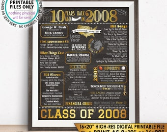 "10 Year Reunion Class of 2008 Reunion Back in 2008 Flashback to 2008 10 Years Ago, Gold, PRINTABLE 8x10/16x20"" Chalkboard Style Sign <ID>"