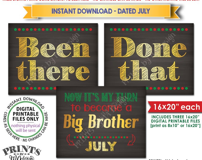Been There Done That Pregnancy Announcement My Turn to be a Big Brother in JULY, Christmas Theme Instant Download Printable Pregnancy Signs