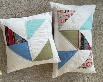 Patchwork pillow, 2 piece, 38 x 38 cm and 57 x 38