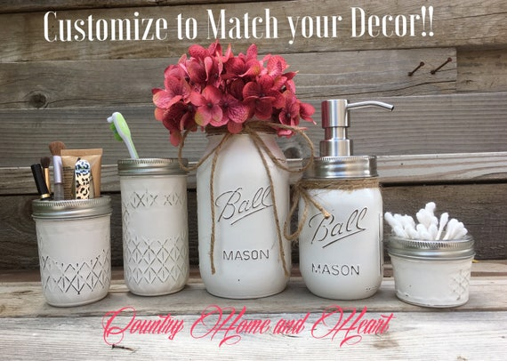 country bathroom decor-mason jar bathroom set-rustic bathroom