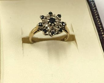 Vintage 9ct Yellow Gold Sapphire and Diamond Cluster Ring Size K