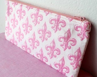 Pink Fleur De Lis Pencil Pouch
