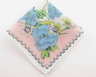 Blue Cornflowers and Yellow Daisies  - Light Salmon Border - Hanky - Center Roses - Gift - Collect - Wedding - Giftwrap