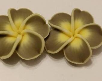 2 34x11mm polymer clay flower beads