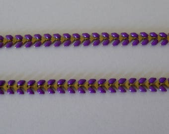 Purple gold enameled ear chain 20 cm