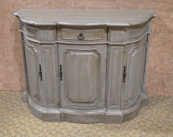 Shabby Distressed Gray Transitional Style Shaped Accent Cabinet