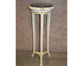 Neo-Classic Style Marble Top Pedestal/Plant Stand w/Gold Highlights