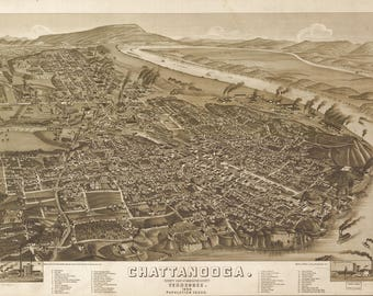 Chattanooga, TN Panoramic Map from 1886. This print is a wonderful wall decoration for Den, Office, Man Cave or any wall