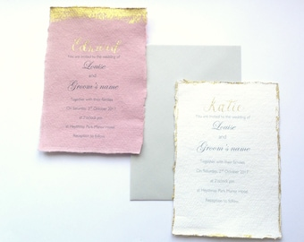Floral wedding invitation, Gold wedding invitation, rustic wedding invitation, dried flower wedding invitations, woodland wedding invitation