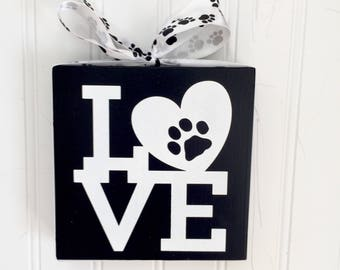 Dog Lover Gift - Gift for Dog Lover - Dog Love  Sign - Pawprint Sign - Pet Lover Gift - Dog Art - Canine Lover Gift - Pawprint Wood Block