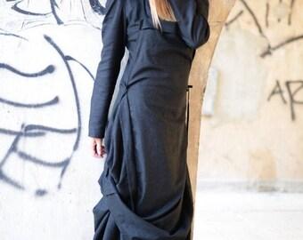 15% SUMMER SALE Linen Dress, Summer Black Dress, Long Dress, Long Sleeve Dress, Two Parts Dress, Women Casual Dress, Loose Kaftan Dress, Plu