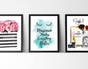 Set of 3, make up, shopping, bag, with flowers, quote, make up quote, makeup, Mascara, gift, Watercolor, fashion illustration, bedroom, art