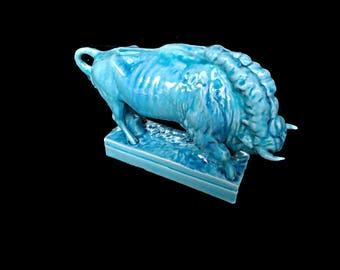 Zsolnay Blue Bison, Zsolnay Bull, Base Glaze Zsolnay, Porcelain Bison